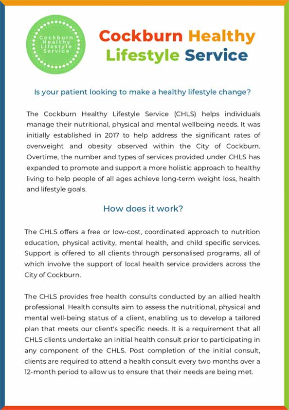 CHLS Information Sheet for Health Professionals